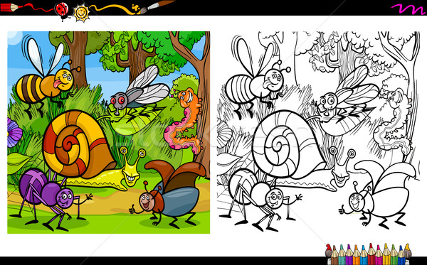 insect characters coloring page Stock photo © izakowski