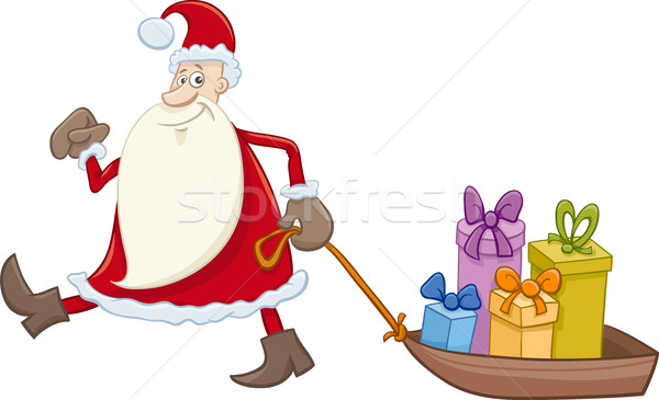 santa claus with gifts on sledge Stock photo © izakowski