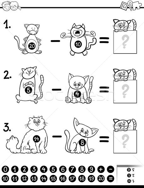 Odejmowanie gry kolorowanka czarno białe cartoon ilustracja Zdjęcia stock © izakowski