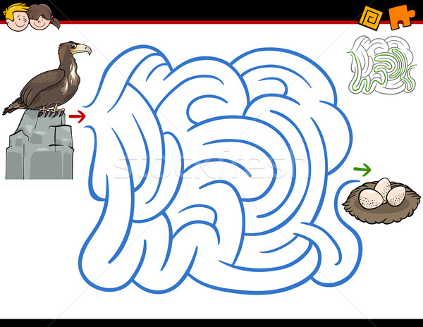 Labirinto attività aquila cartoon illustrazione istruzione Foto d'archivio © izakowski