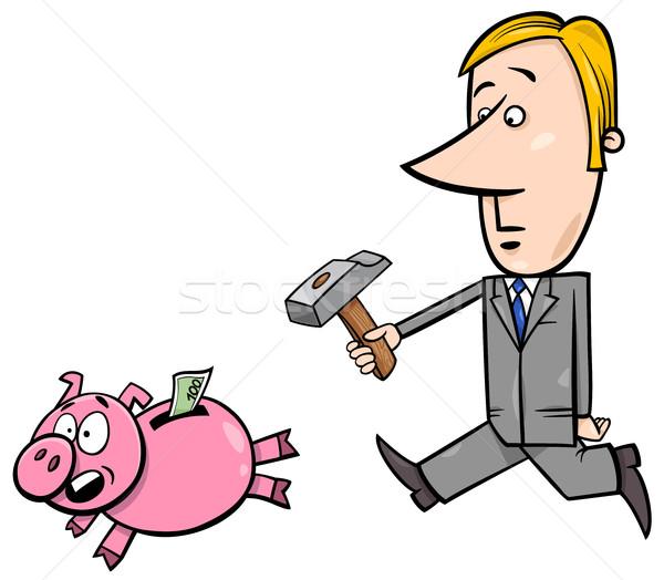 businessman chase piggy bank Stock photo © izakowski