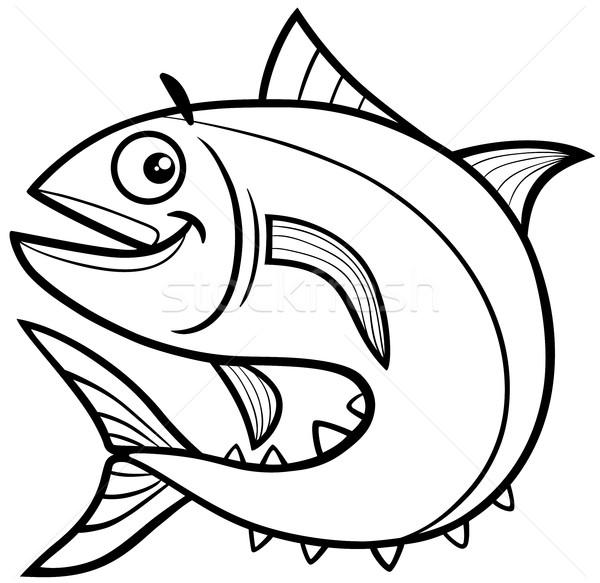 商业照片: 金枪鱼 ·鱼· 黑白 · 漫画 · 插图