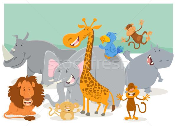 Safari zwierząt grupy cartoon ilustracja Zdjęcia stock © izakowski
