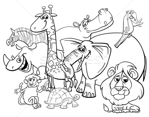 cartoon safari animals coloring page Stock photo © izakowski
