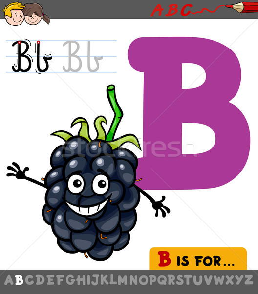 letter b with cartoon blackberry fruit Stock photo © izakowski