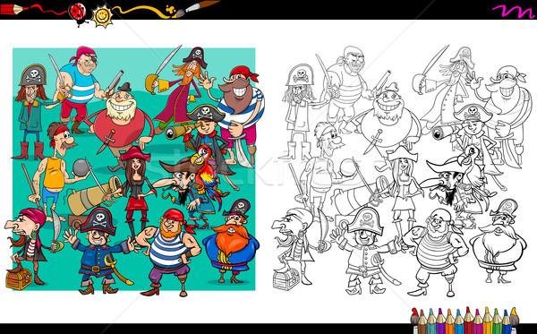 pirate characters group coloring book Stock photo © izakowski
