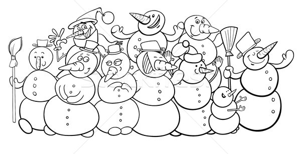 snowmen group cartoon coloring book Stock photo © izakowski