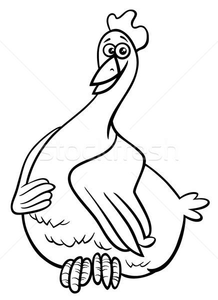 hen farm animal character coloring book Stock photo © izakowski