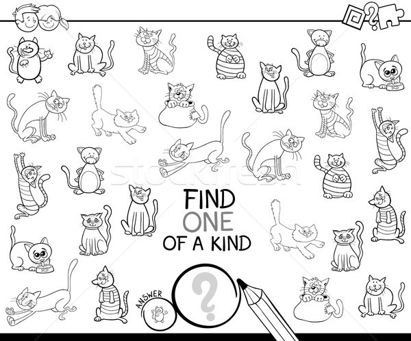 one of a kind game with cats coloring book Stock photo © izakowski