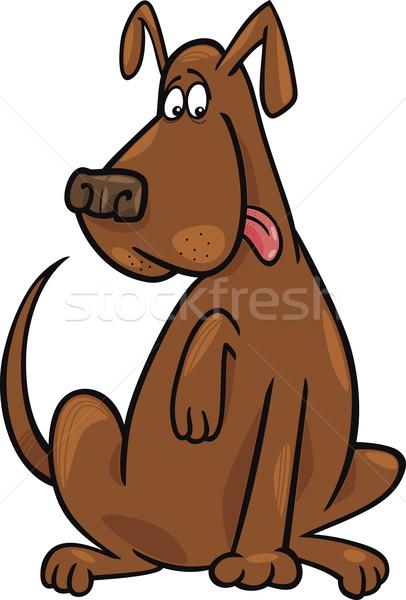 Foto stock: Engraçado · sessão · cão · desenho · animado · ilustração · marrom