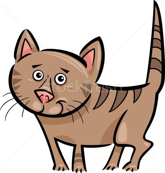 cartoon illustration of cat or kitten Stock photo © izakowski