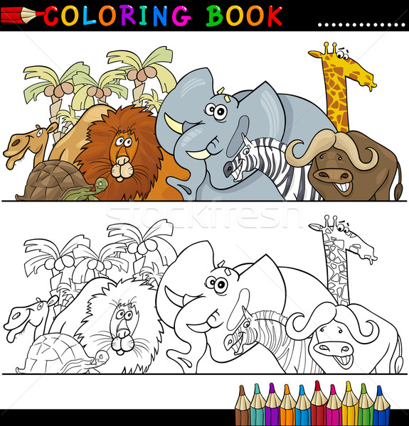 Stockfoto: Wild · safari · dieren · kleurboek · pagina · cartoon · illustratie