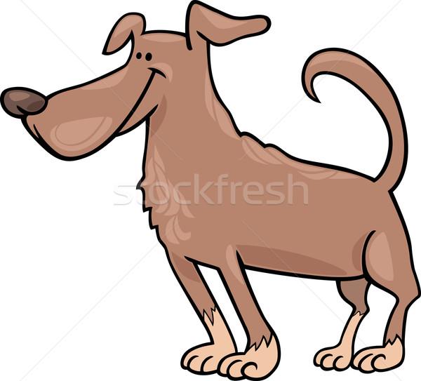смешные собака Cartoon иллюстрация Постоянный коричневая собака Сток-фото © izakowski