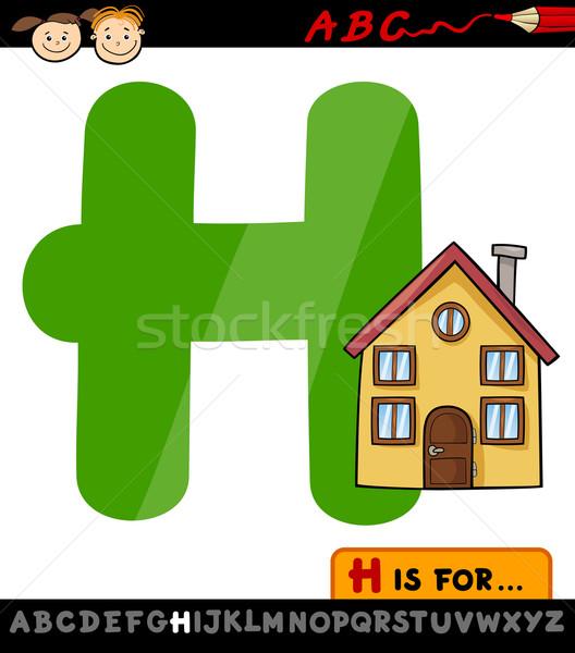 letter h with house cartoon illustration Stock photo © izakowski