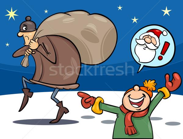 Ladro Natale cartoon illustrazione piccolo ragazzo Foto d'archivio © izakowski