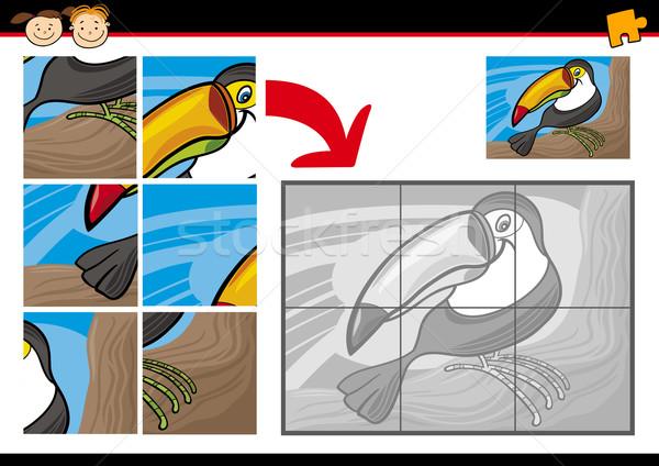 cartoon toucan jigsaw puzzle game Stock photo © izakowski