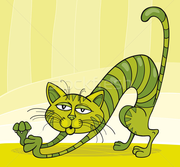Green Cat stretching Stock photo © izakowski