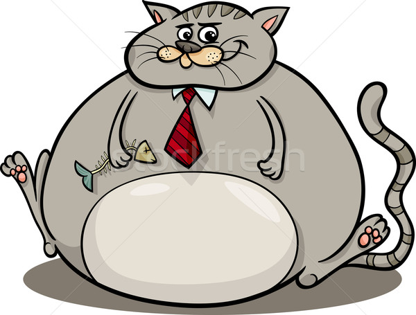 fat cat saying cartoon illustration Stock photo © izakowski