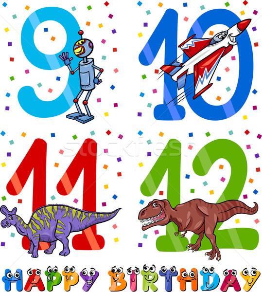 birthday cartoon design for boy Stock photo © izakowski