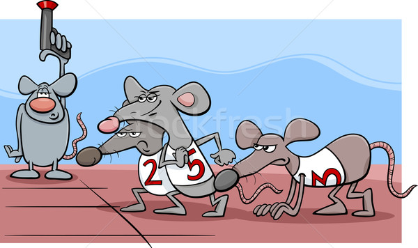 Rat race cartoon illustratie humor gezegde Stockfoto © izakowski