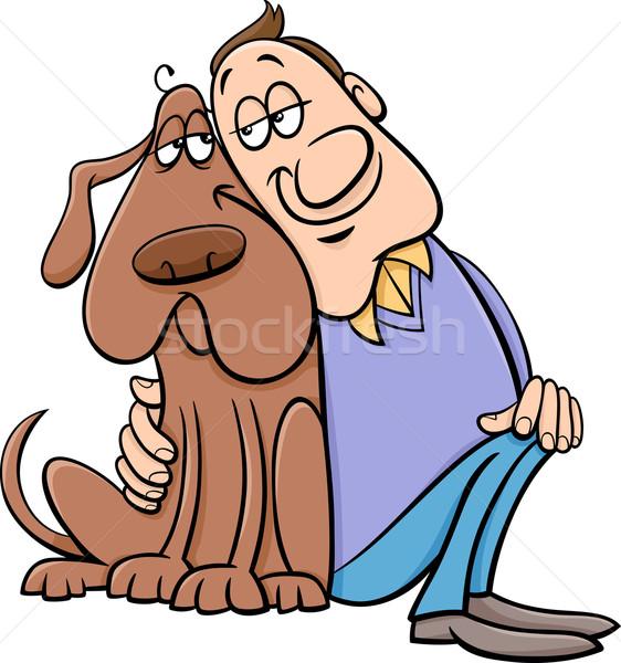 dog with owner cartoon illustration Stock photo © izakowski