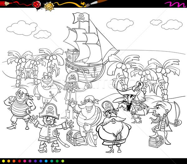 pirates cartoon coloring book Stock photo © izakowski