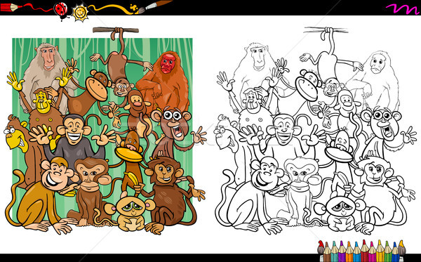monkey characters coloring book Stock photo © izakowski
