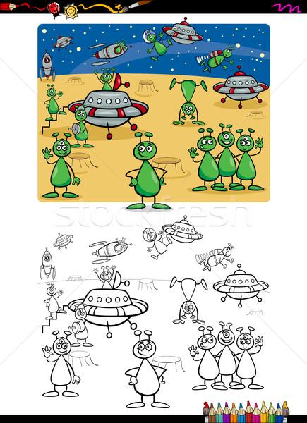 Grupo livro para colorir desenho animado ilustração engraçado alienígena Foto stock © izakowski