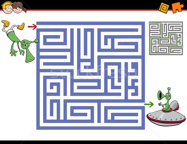 Labirynt działalność dzieci cartoon ilustracja edukacji Zdjęcia stock © izakowski