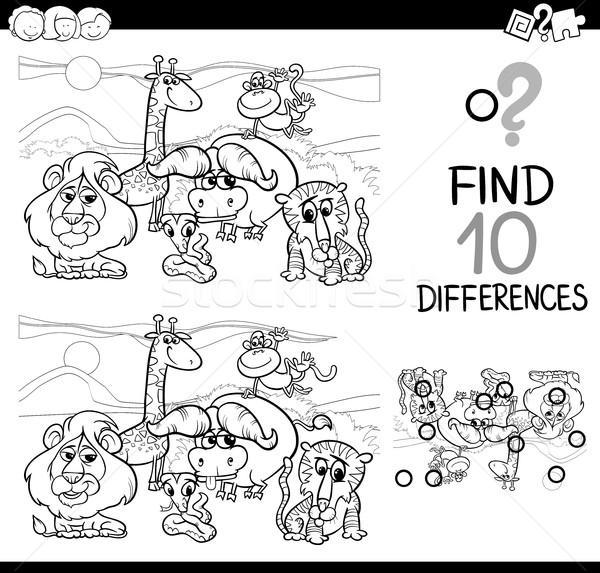 Verschil spel safari dieren zwart wit cartoon illustratie Stockfoto © izakowski