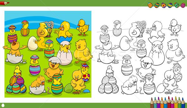 easter characters coloring book Stock photo © izakowski