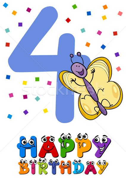 Negyedik születésnap rajz üdvözlőlap design illusztráció terv Stock fotó © izakowski
