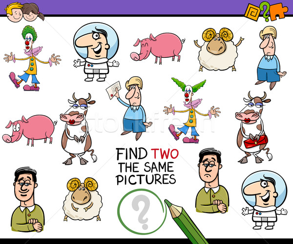 Tarefa crianças desenho animado ilustração encontrar Foto stock © izakowski