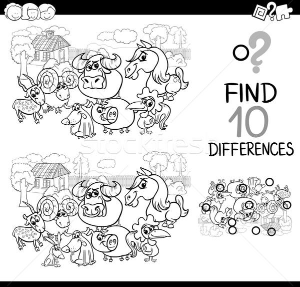 сельскохозяйственных животных разница игры черно белые Cartoon иллюстрация Сток-фото © izakowski
