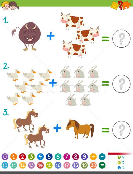 addition maths activity with animals Stock photo © izakowski