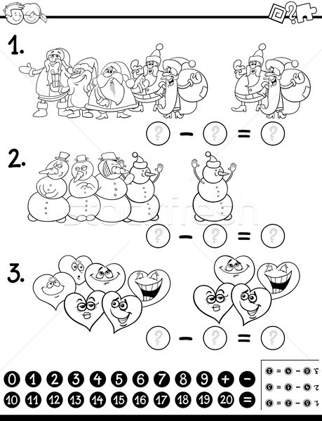 subtraction activity coloring page Stock photo © izakowski