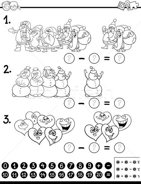 Odejmowanie działalność strona czarno białe cartoon ilustracja Zdjęcia stock © izakowski