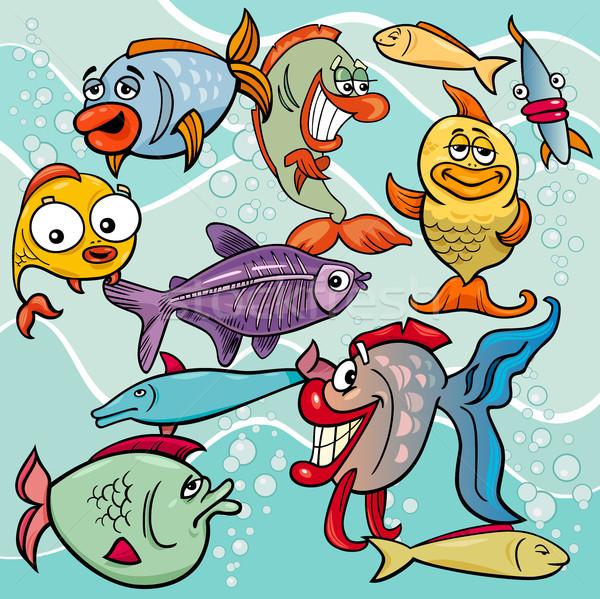 Komik balık karikatür grup Stok fotoğraf © izakowski