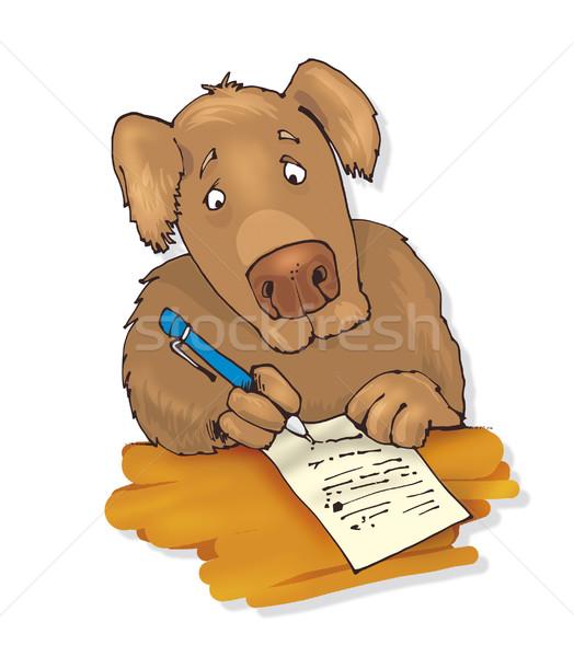 dog writing a letter Stock photo © izakowski