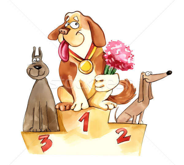 Honden tentoonstelling podium humoristisch illustratie bloemen Stockfoto © izakowski