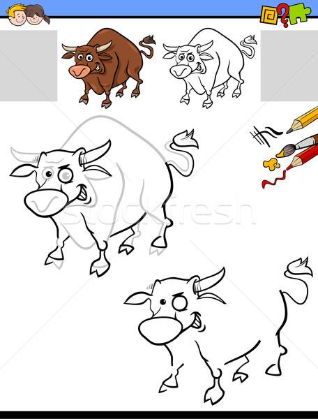drawing and coloring worksheet with bull Stock photo © izakowski