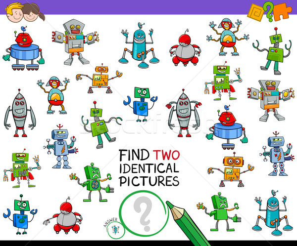 Vinden twee identiek robots onderwijs activiteit Stockfoto © izakowski