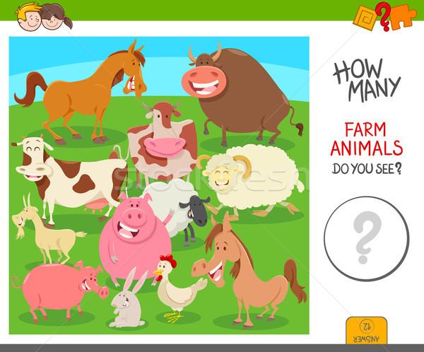 count the farm animals activity game Stock photo © izakowski