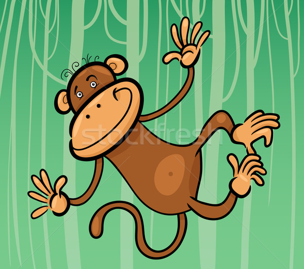 cartoon illustration of funny monkey Stock photo © izakowski