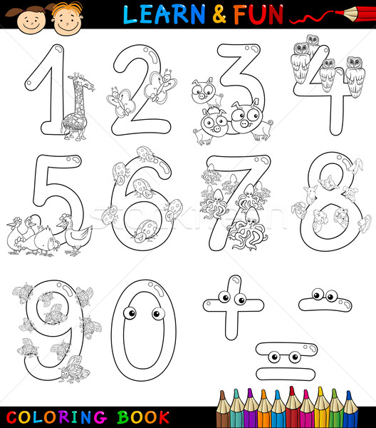 numbers with cartoon animals for coloring Stock photo © izakowski