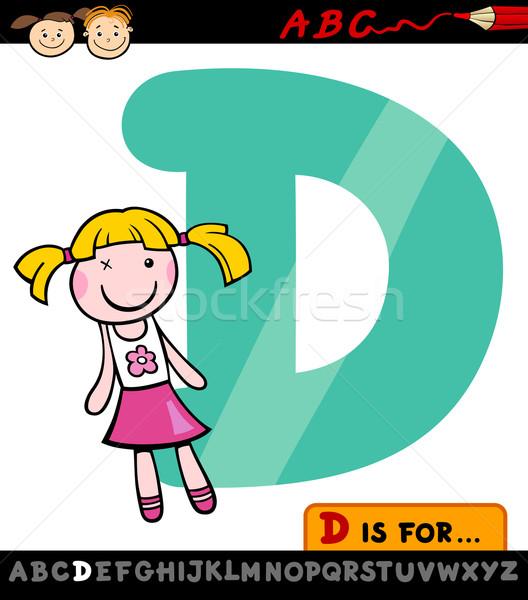 D betű baba rajz illusztráció nagybetű ábécé Stock fotó © izakowski
