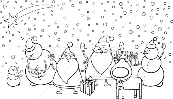 christmas characters coloring page Stock photo © izakowski
