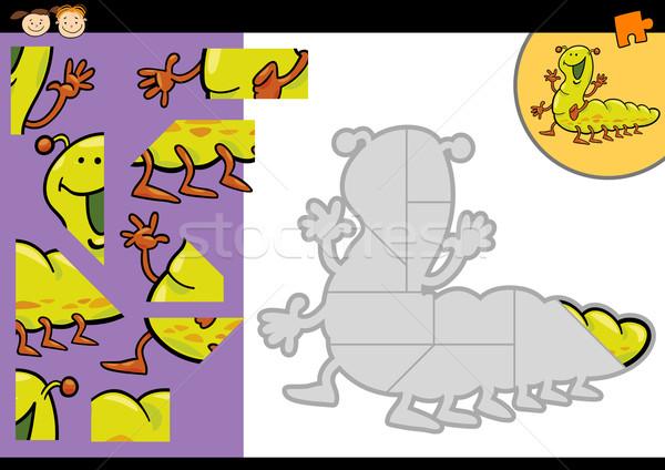 Desenho animado lagarta jogo ilustração educação Foto stock © izakowski