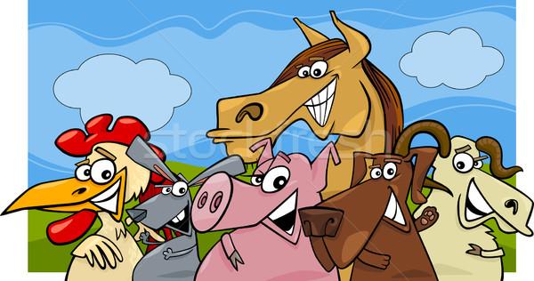 Boerderijdieren cartoon illustratie groep gelukkig Stockfoto © izakowski