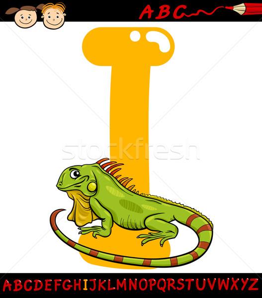 Letter i leguaan cartoon illustratie hoofdletter alfabet Stockfoto © izakowski